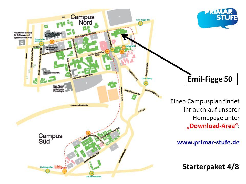 """Starterpaket 4/8 Einen Campusplan findet ihr auch auf unserer Homepage unter """"Download-Area"""": www.primar-stufe.de Emil-Figge 50"""