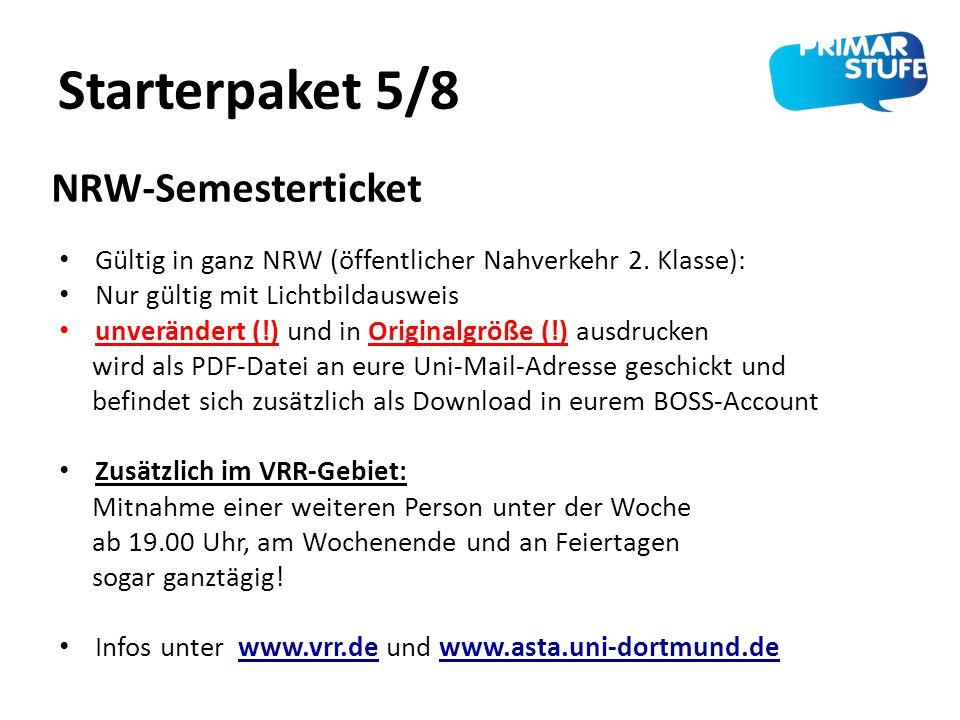 Starterpaket 5/8 Gültig in ganz NRW (öffentlicher Nahverkehr 2. Klasse): Nur gültig mit Lichtbildausweis unverändert (!) und in Originalgröße (!) ausd