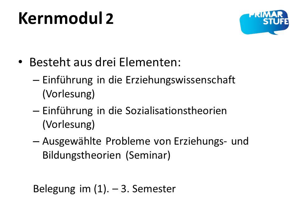 Kernmodul 2 Besteht aus drei Elementen: – Einführung in die Erziehungswissenschaft (Vorlesung) – Einführung in die Sozialisationstheorien (Vorlesung)