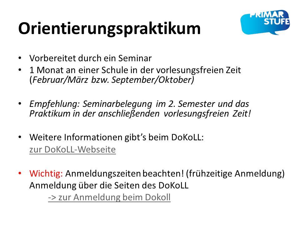 Orientierungspraktikum Vorbereitet durch ein Seminar 1 Monat an einer Schule in der vorlesungsfreien Zeit (Februar/März bzw. September/Oktober) Empfeh