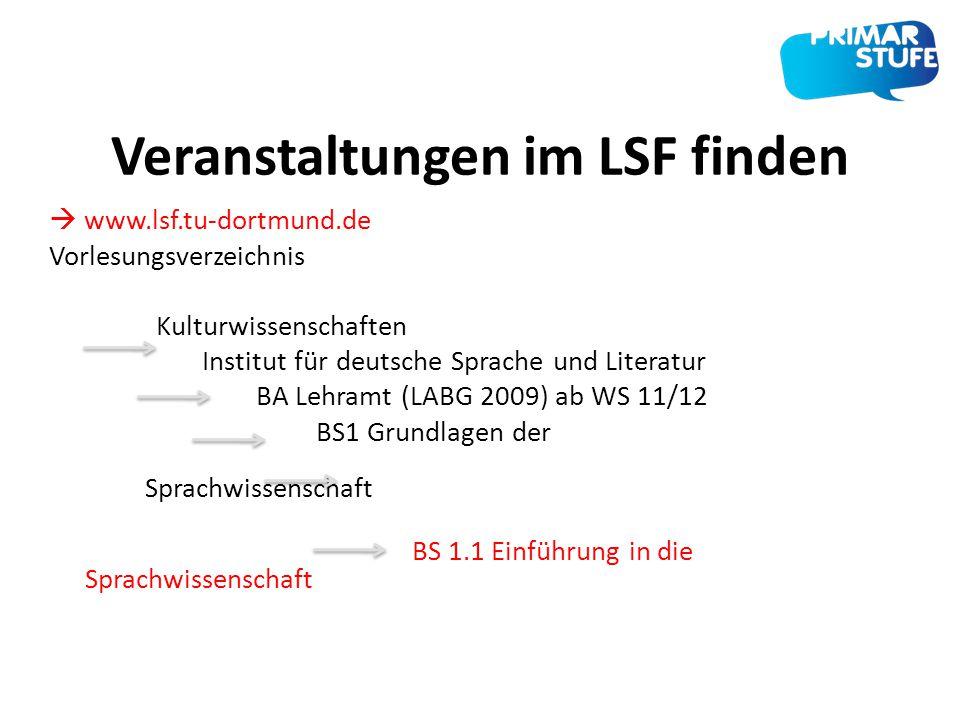 Veranstaltungen im LSF finden  www.lsf.tu-dortmund.de Vorlesungsverzeichnis Kulturwissenschaften Institut für deutsche Sprache und Literatur BA Lehra
