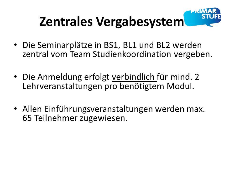 Zentrales Vergabesystem Die Seminarplätze in BS1, BL1 und BL2 werden zentral vom Team Studienkoordination vergeben. Die Anmeldung erfolgt verbindlich