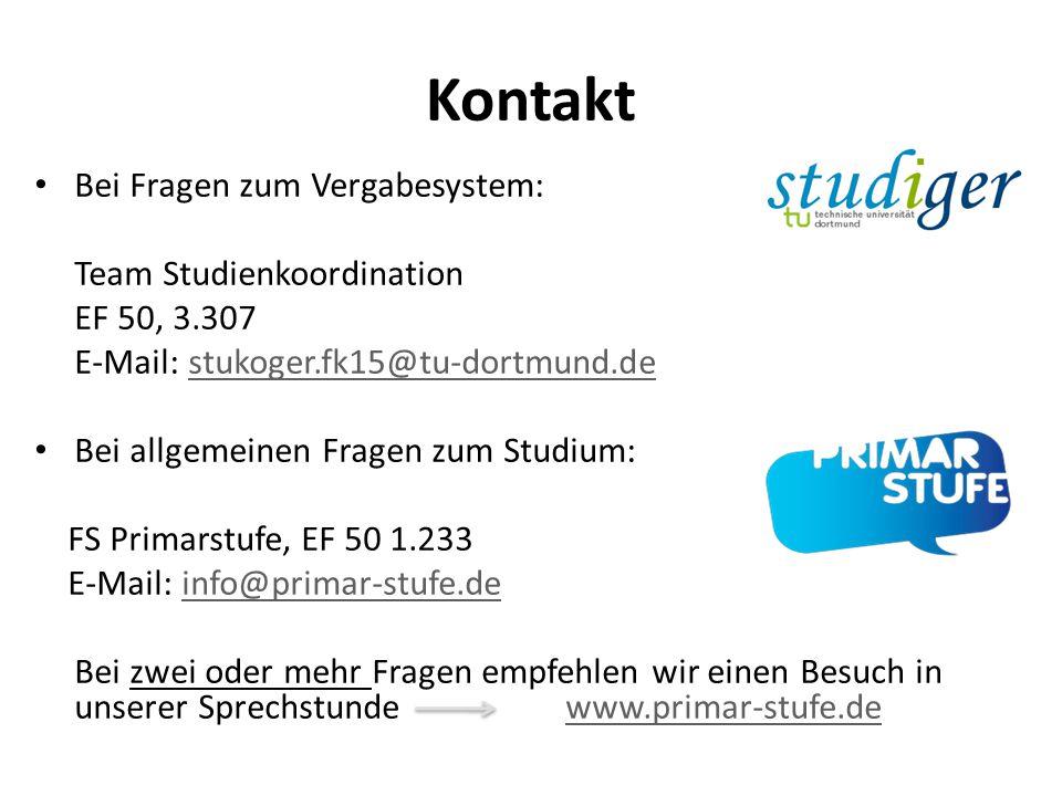 Kontakt Bei Fragen zum Vergabesystem: Team Studienkoordination EF 50, 3.307 E-Mail: stukoger.fk15@tu-dortmund.destukoger.fk15@tu-dortmund.de Bei allge