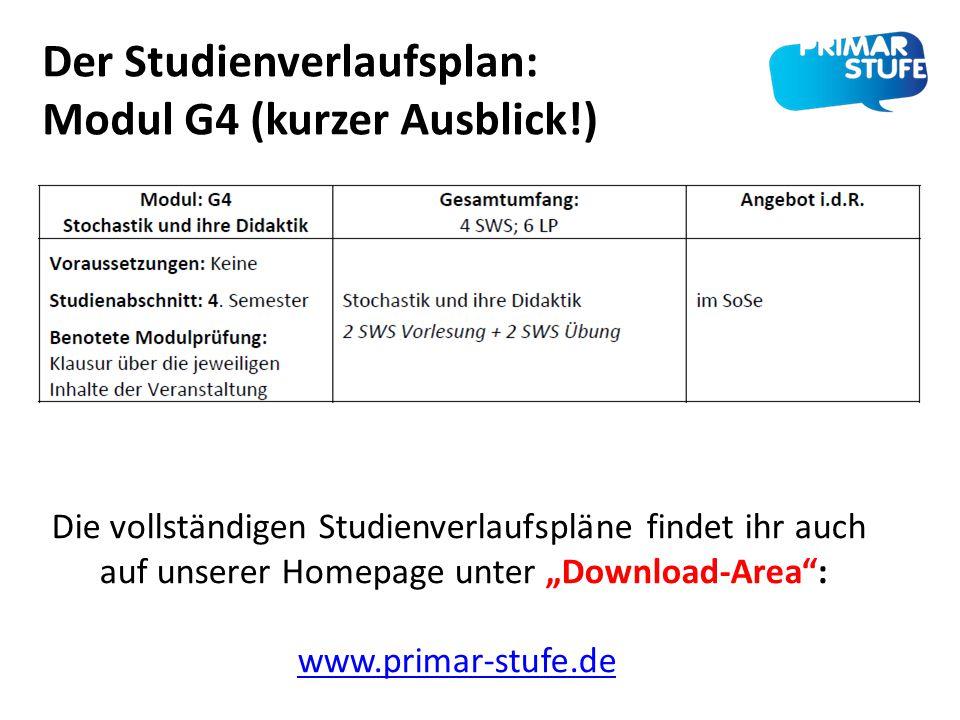 """Der Studienverlaufsplan: Modul G4 (kurzer Ausblick!) Die vollständigen Studienverlaufspläne findet ihr auch auf unserer Homepage unter """"Download-Area"""""""