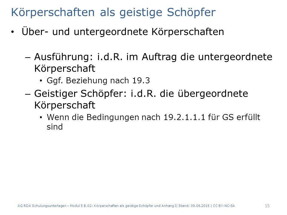 Körperschaften als geistige Schöpfer Über- und untergeordnete Körperschaften – Ausführung: i.d.R.