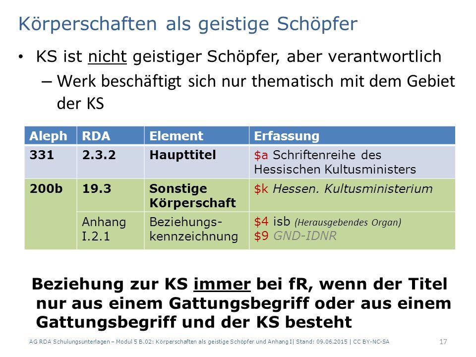 Körperschaften als geistige Schöpfer KS ist nicht geistiger Schöpfer, aber verantwortlich – Werk beschäftigt sich nur thematisch mit dem Gebiet der KS Beziehung zur KS immer bei fR, wenn der Titel nur aus einem Gattungsbegriff oder aus einem Gattungsbegriff und der KS besteht AG RDA Schulungsunterlagen – Modul 5 B.02: Körperschaften als geistige Schöpfer und Anhang I| Stand: 09.06.2015 | CC BY-NC-SA 17 AlephRDAElementErfassung 3312.3.2Haupttitel$a Schriftenreihe des Hessischen Kultusministers 200b19.3Sonstige Körperschaft $k Hessen.