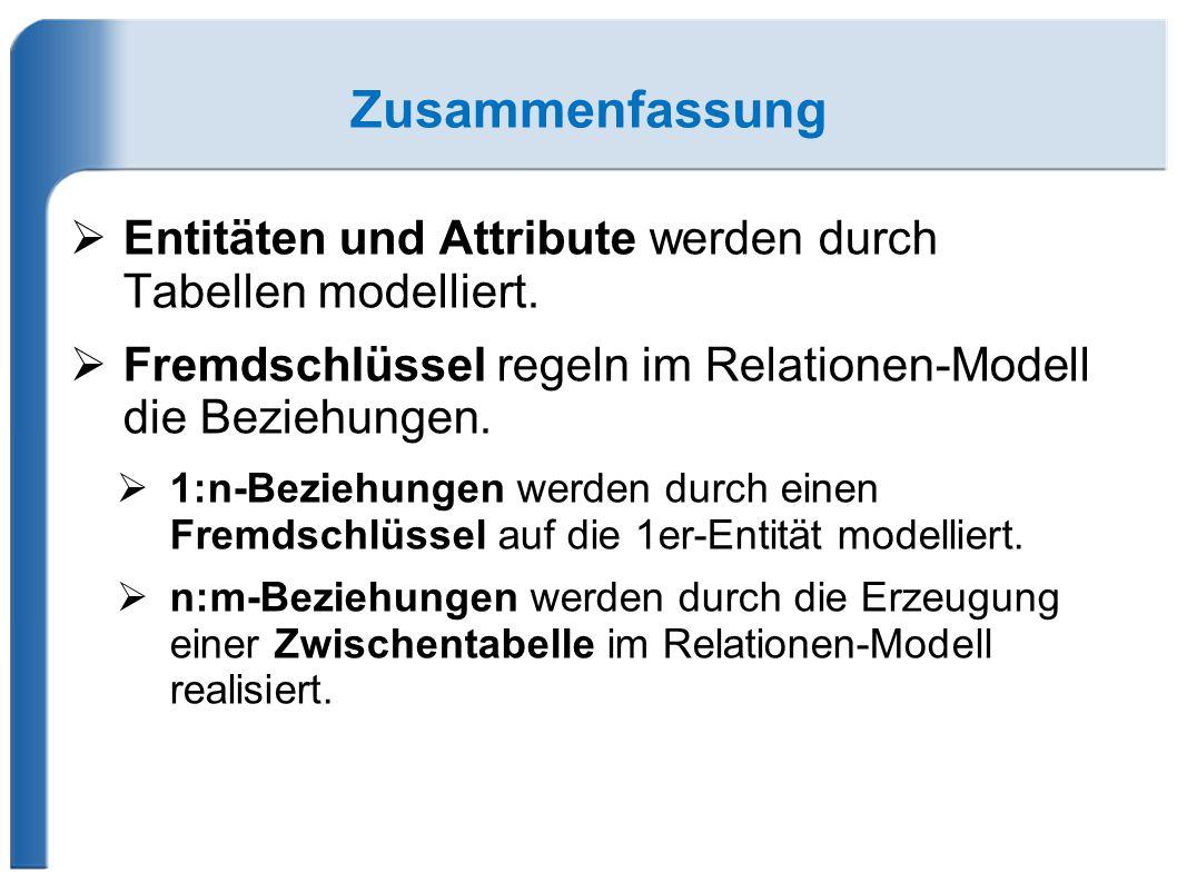 Zusammenfassung  Entitäten und Attribute werden durch Tabellen modelliert.  Fremdschlüssel regeln im Relationen-Modell die Beziehungen.  1:n-Bezieh