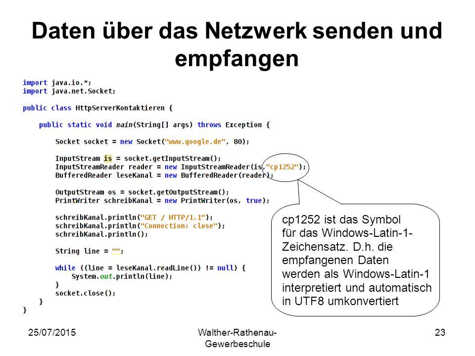 25/07/2015Walther-Rathenau- Gewerbeschule 23 Daten über das Netzwerk senden und empfangen cp1252 ist das Symbol für das Windows-Latin-1- Zeichensatz.