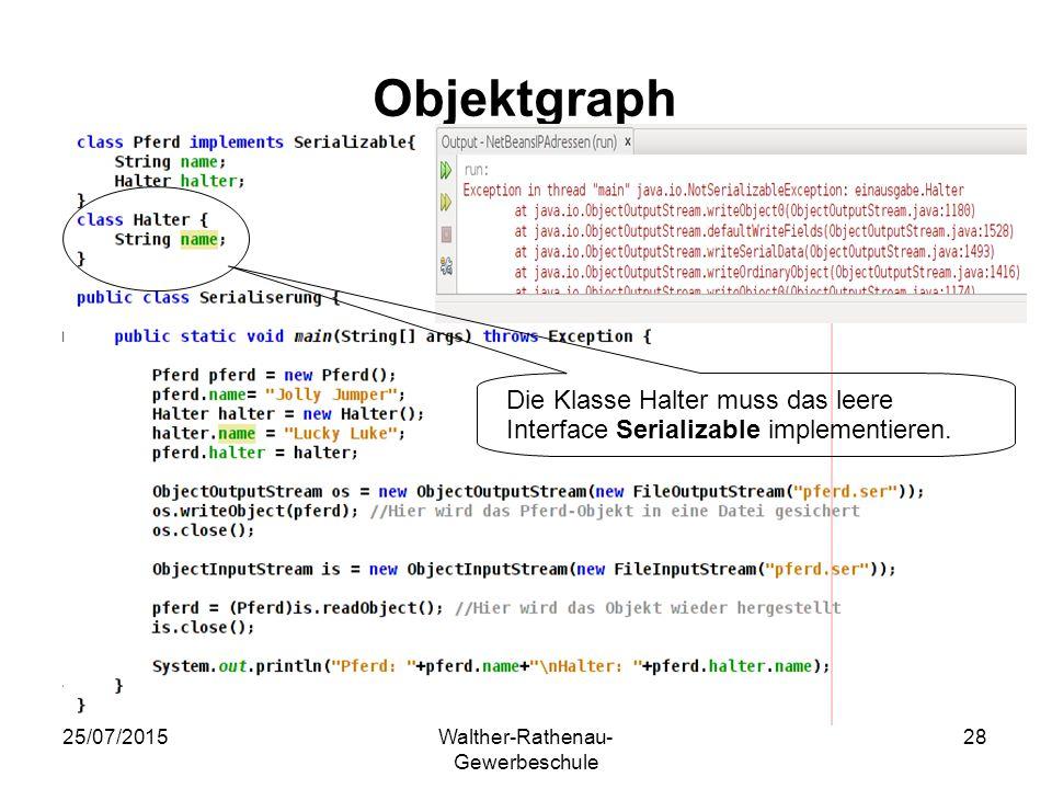25/07/2015Walther-Rathenau- Gewerbeschule 28 Objektgraph Die Klasse Halter muss das leere Interface Serializable implementieren.