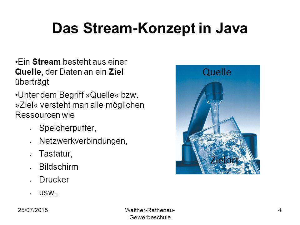 25/07/2015Walther-Rathenau- Gewerbeschule 4 Das Stream-Konzept in Java Ein Stream besteht aus einer Quelle, der Daten an ein Ziel überträgt Unter dem Begriff »Quelle« bzw.