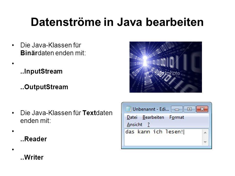Datenströme in Java bearbeiten Die Java-Klassen für Binärdaten enden mit:..InputStream..OutputStream Die Java-Klassen für Textdaten enden mit:..Reader