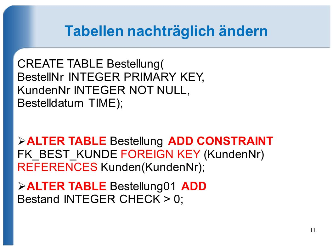 11 Tabellen nachträglich ändern CREATE TABLE Bestellung( BestellNr INTEGER PRIMARY KEY, KundenNr INTEGER NOT NULL, Bestelldatum TIME);  ALTER TABLE B