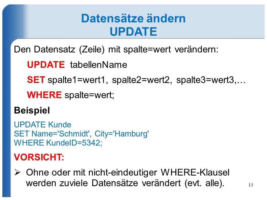13 Datensätze ändern UPDATE Den Datensatz (Zeile) mit spalte=wert verändern: UPDATE tabellenName SET spalte1=wert1, spalte2=wert2, spalte3=wert3,… WHE