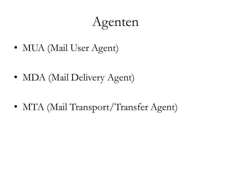 Protokolle POP (Post Office Protocol)  zum Herunterladen der Mails vom Mailserver IMAP (Internet Message Access Protocol)  zum Zugreifen der Mails auf dem Mailserver, diese bleiben dort SMTP (Simple Mail Transfer Protocol)  zum Versenden von Mails