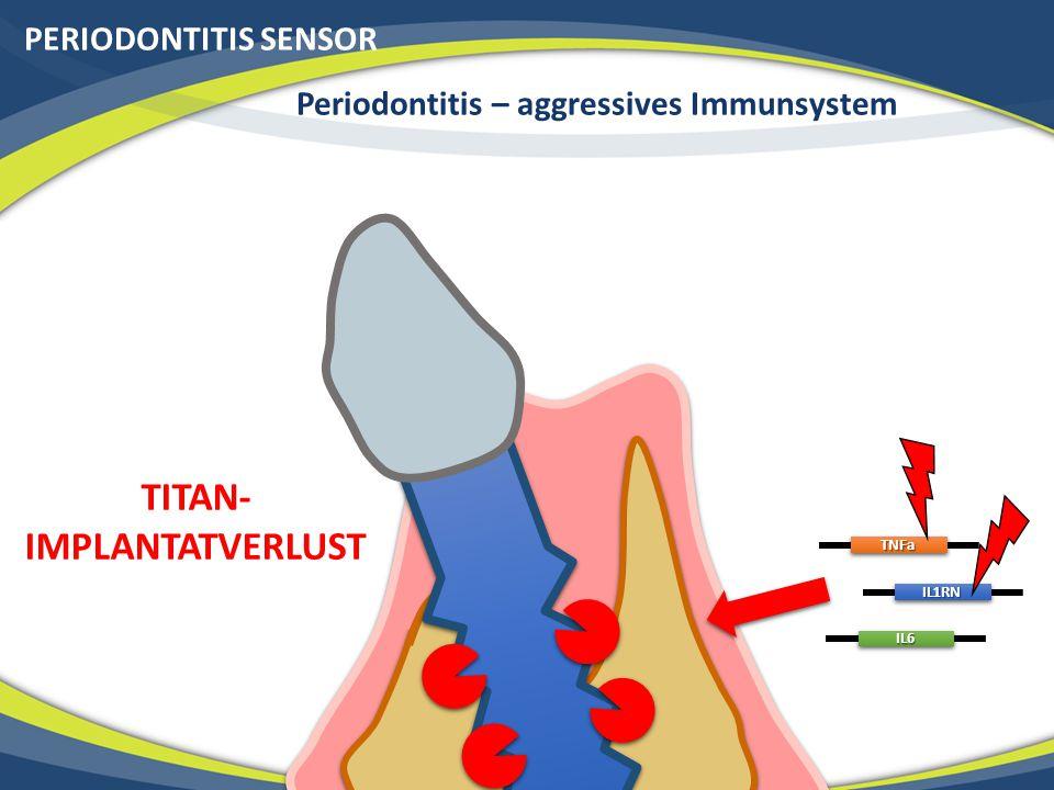 PERIODONTITIS SENSORTNFa IL1RN IL6 Periodontitis – aggressives Immunsystem TITAN- IMPLANTATVERLUST