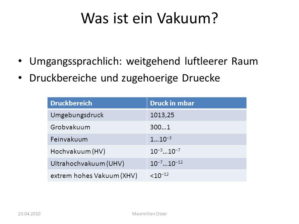 Was ist ein Vakuum? Umgangssprachlich: weitgehend luftleerer Raum Druckbereiche und zugehoerige Druecke DruckbereichDruck in mbar Umgebungsdruck1013,2