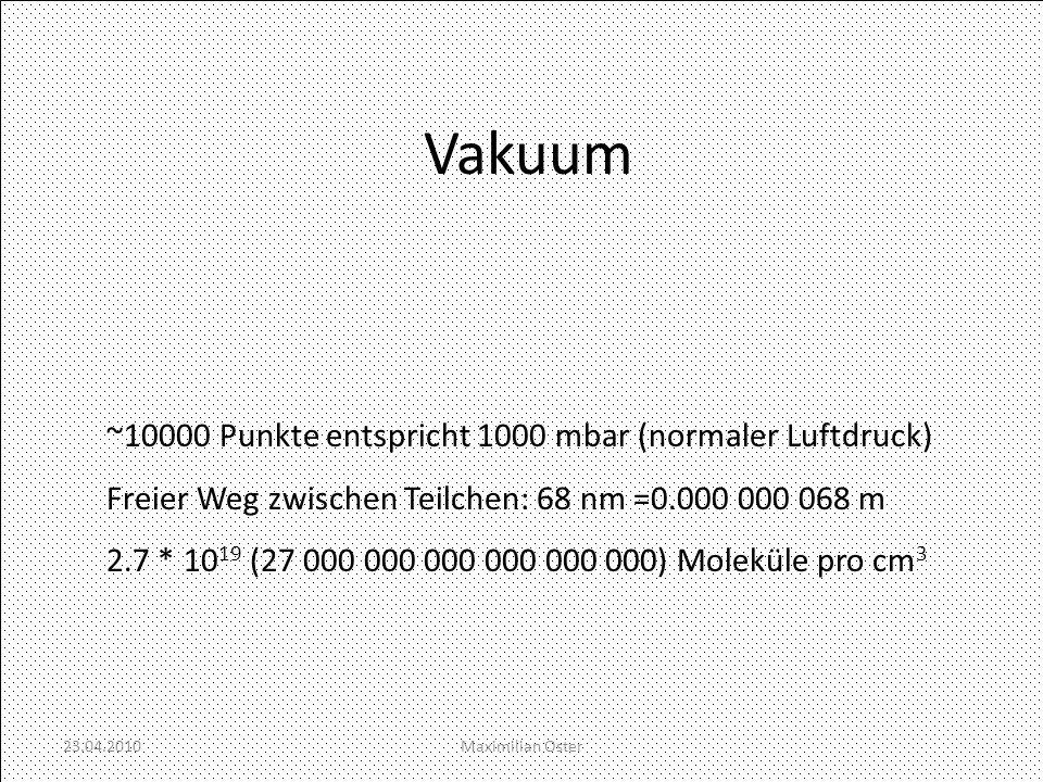 Vakuum ~10000 Punkte entspricht 1000 mbar (normaler Luftdruck) Freier Weg zwischen Teilchen: 68 nm =0.000 000 068 m 2.7 * 10 19 (27 000 000 000 000 00