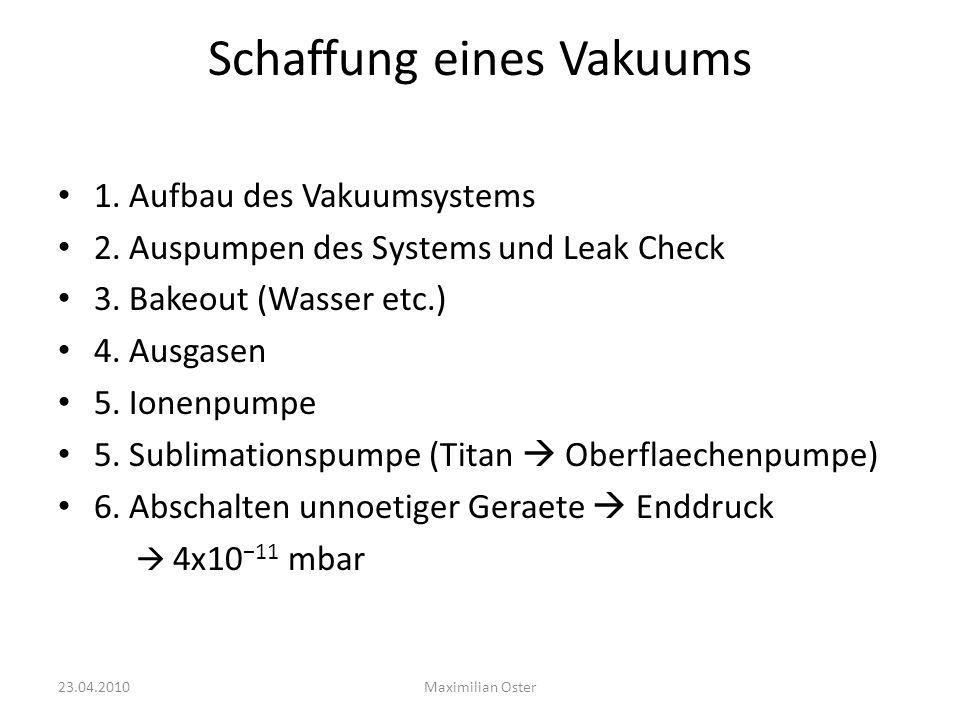 Schaffung eines Vakuums 1. Aufbau des Vakuumsystems 2. Auspumpen des Systems und Leak Check 3. Bakeout (Wasser etc.) 4. Ausgasen 5. Ionenpumpe 5. Subl