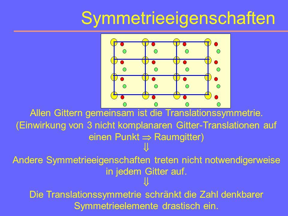 Symmetrieeigenschaften Symmetrie bedeutet gesetzmäßige Wiederholung eines Motivs. (Alle Deckoperationen heißen Symmetrieoperationen.)  Sind ein Punkt