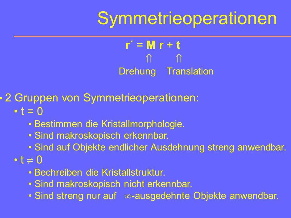 Symmetrieeigenschaften Allen Gittern gemeinsam ist die Translationssymmetrie. (Einwirkung von 3 nicht komplanaren Gitter-Translationen auf einen Punkt