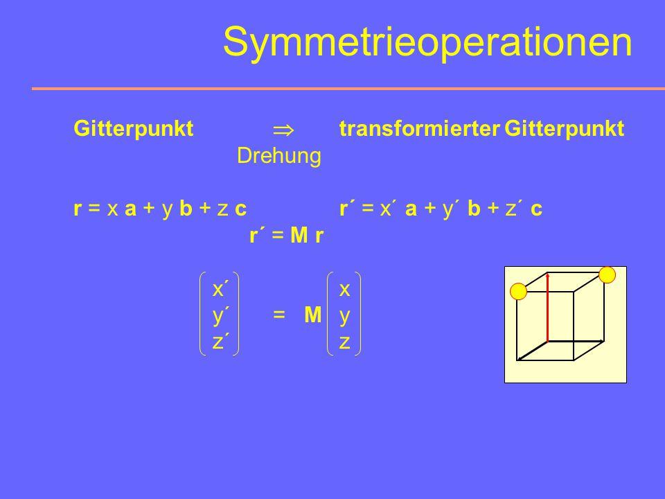 Symmetrieoperationen r´ = M r + t  Drehung Translation 2 Gruppen von Symmetrieoperationen: t = 0 Bestimmen die Kristallmorphologie. Sind makroskopisc