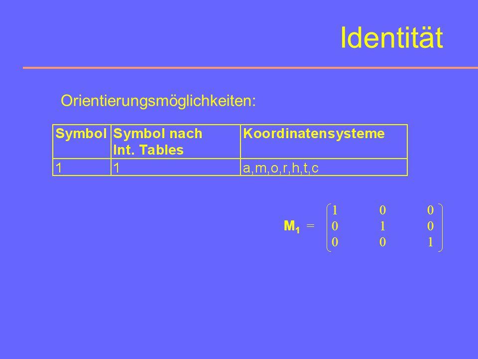 Drehwinkel:360° Symbol:1 (nach Hermann-Mauguin) graphisches Symbol:- Identität