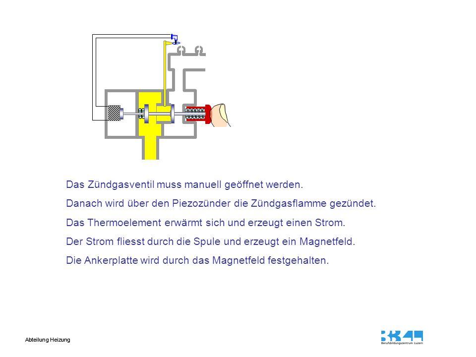 Abteilung Heizung Das Zündgasventil muss manuell geöffnet werden.