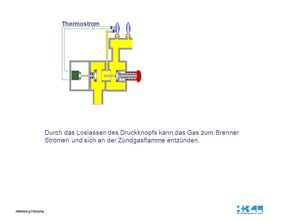 Abteilung Heizung Durch das Loslassen des Druckknopfs kann das Gas zum Brenner Strömen und sich an der Zündgasflamme entzünden.