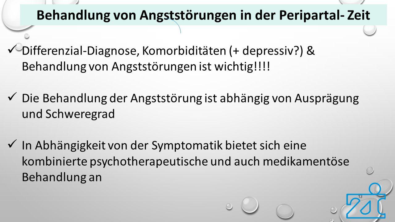 13 Differenzial-Diagnose, Komorbiditäten (+ depressiv?) & Behandlung von Angststörungen ist wichtig!!!! Die Behandlung der Angststörung ist abhängig v