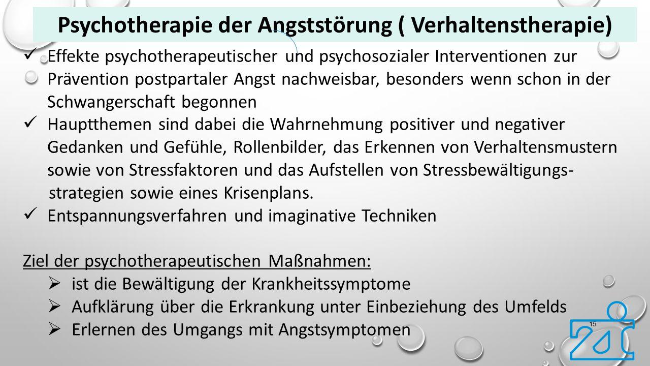 15 Psychotherapie der Angststörung ( Verhaltenstherapie) Effekte psychotherapeutischer und psychosozialer Interventionen zur Prävention postpartaler A