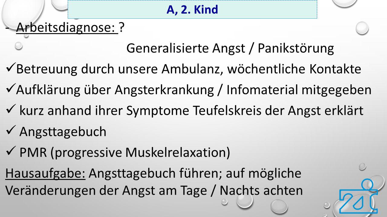 -Arbeitsdiagnose: ? Generalisierte Angst / Panikstörung Betreuung durch unsere Ambulanz, wöchentliche Kontakte Aufklärung über Angsterkrankung / Infom
