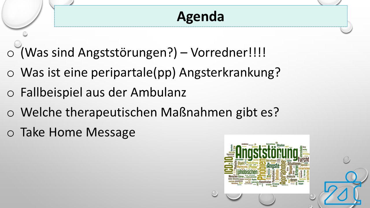 Agenda o (Was sind Angststörungen?) – Vorredner!!!! o Was ist eine peripartale(pp) Angsterkrankung? o Fallbeispiel aus der Ambulanz o Welche therapeut