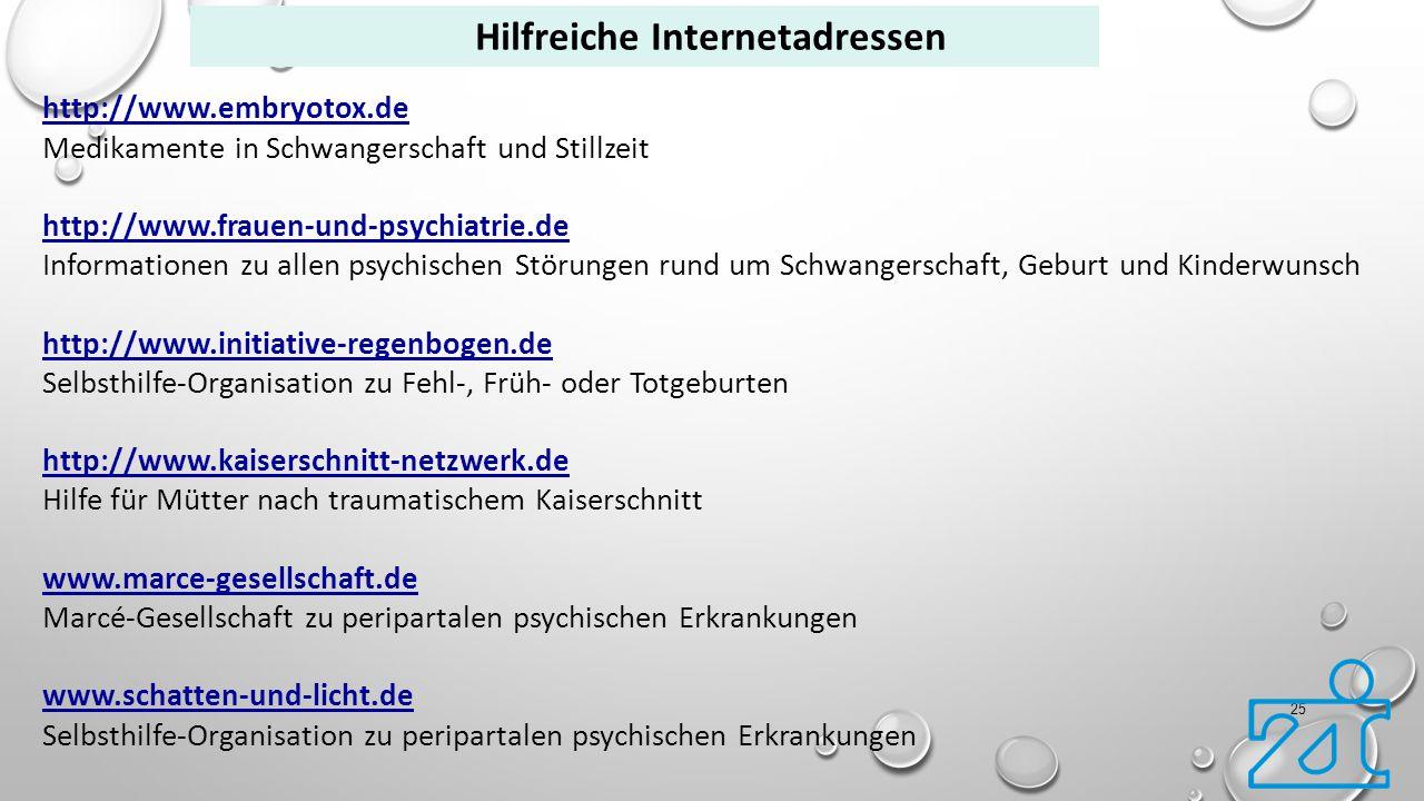 25 http://www.embryotox.de Medikamente in Schwangerschaft und Stillzeit http://www.frauen-und-psychiatrie.de Informationen zu allen psychischen Störun