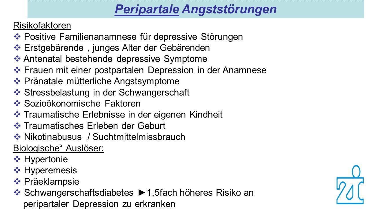 Peripartale Angststörungen Risikofaktoren  Positive Familienanamnese für depressive Störungen  Erstgebärende, junges Alter der Gebärenden  Antenata