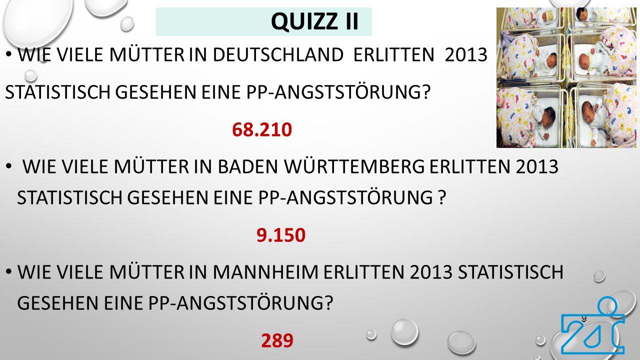 QUIZZ II WIE VIELE MÜTTER IN DEUTSCHLAND ERLITTEN 2013 STATISTISCH GESEHEN EINE PP-ANGSTSTÖRUNG? 68.210 WIE VIELE MÜTTER IN BADEN WÜRTTEMBERG ERLITTEN