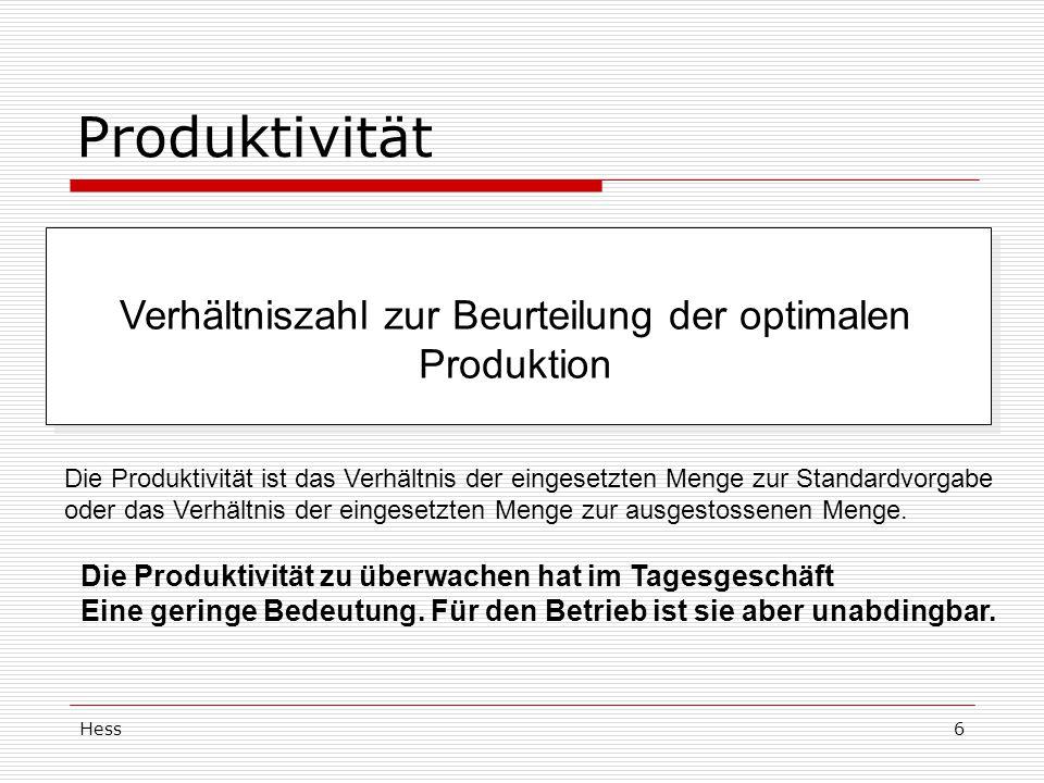 Hess6 Produktivität Verhältniszahl zur Beurteilung der optimalen Produktion Die Produktivität ist das Verhältnis der eingesetzten Menge zur Standardvorgabe oder das Verhältnis der eingesetzten Menge zur ausgestossenen Menge.