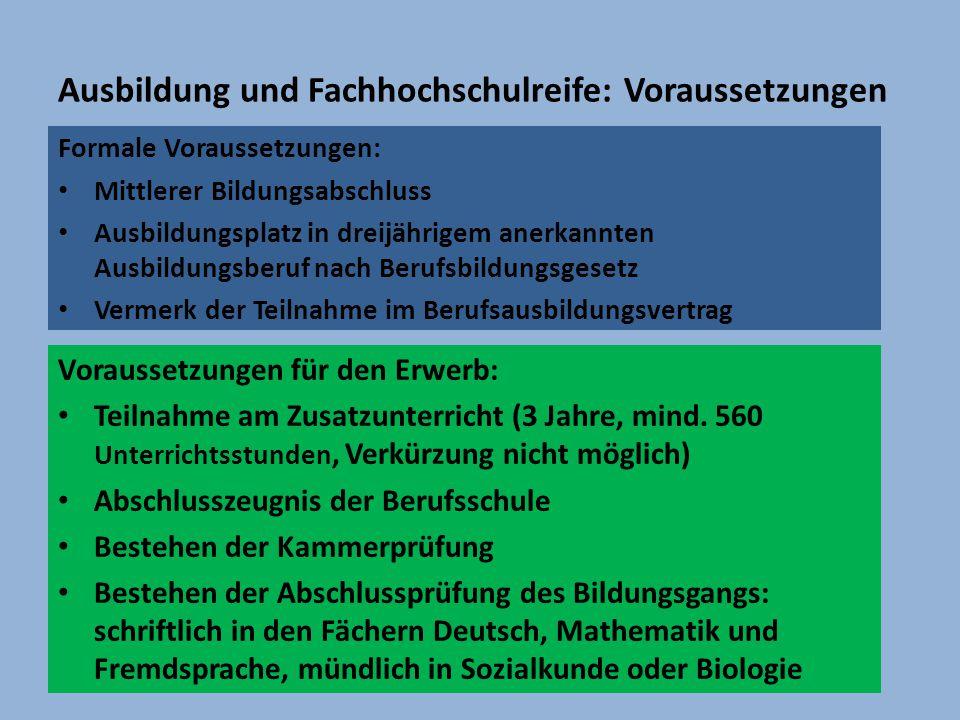Ausbildung und Fachhochschulreife: Voraussetzungen Formale Voraussetzungen: Mittlerer Bildungsabschluss Ausbildungsplatz in dreijährigem anerkannten A