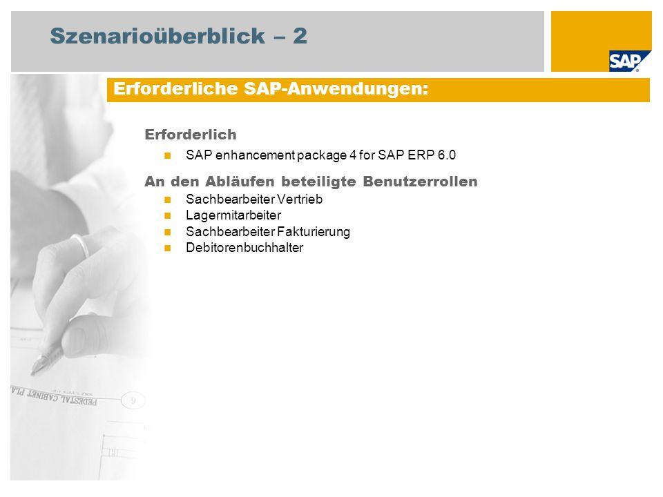 Szenarioüberblick – 2 Erforderlich SAP enhancement package 4 for SAP ERP 6.0 An den Abläufen beteiligte Benutzerrollen Sachbearbeiter Vertrieb Lagermi