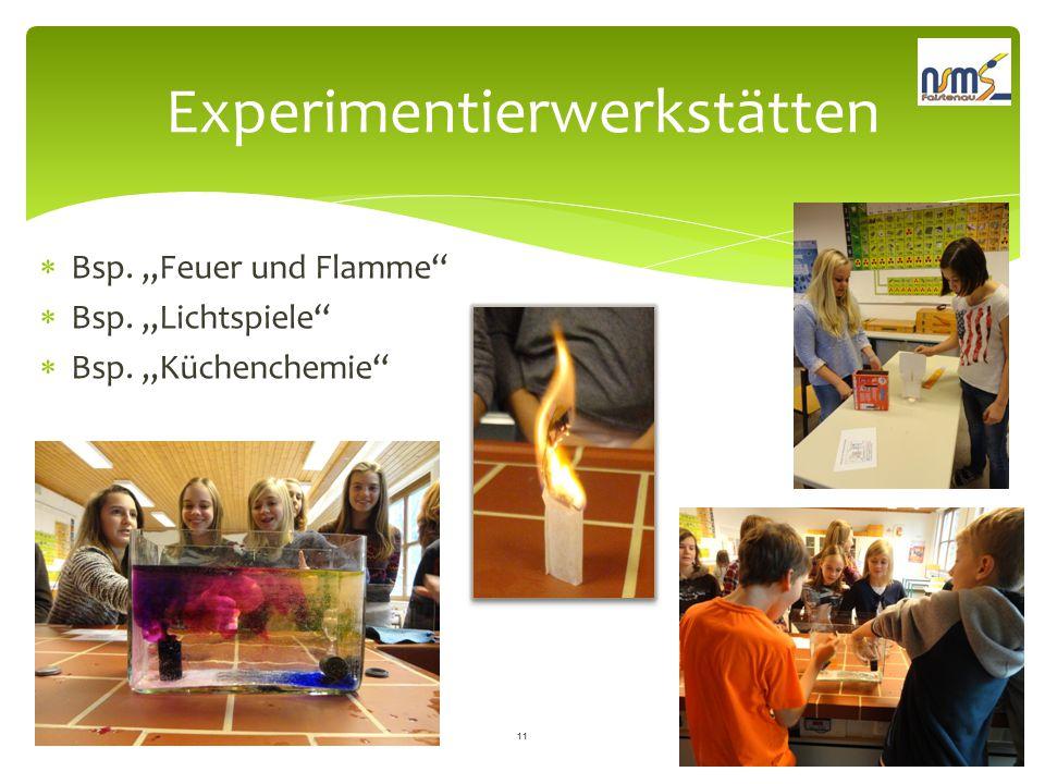 """Experimentierwerkstätten  Bsp. """"Feuer und Flamme""""  Bsp. """"Lichtspiele""""  Bsp. """"Küchenchemie"""" 11"""