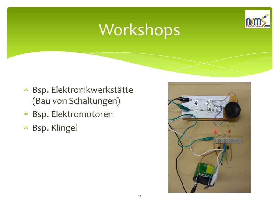 Workshops  Bsp. Elektronikwerkstätte (Bau von Schaltungen)  Bsp. Elektromotoren  Bsp. Klingel 12