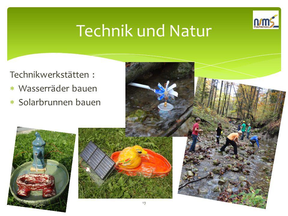 Technik und Natur Technikwerkstätten :  Wasserräder bauen  Solarbrunnen bauen 13