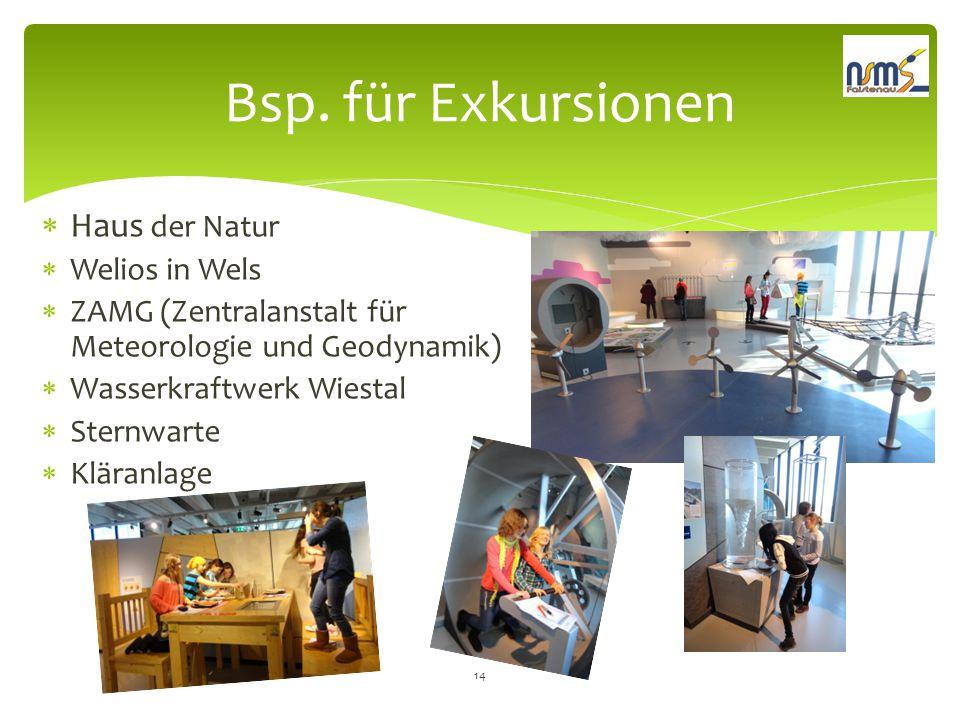 Bsp. für Exkursionen  Haus der Natur  Welios in Wels  ZAMG (Zentralanstalt für Meteorologie und Geodynamik)  Wasserkraftwerk Wiestal  Sternwarte