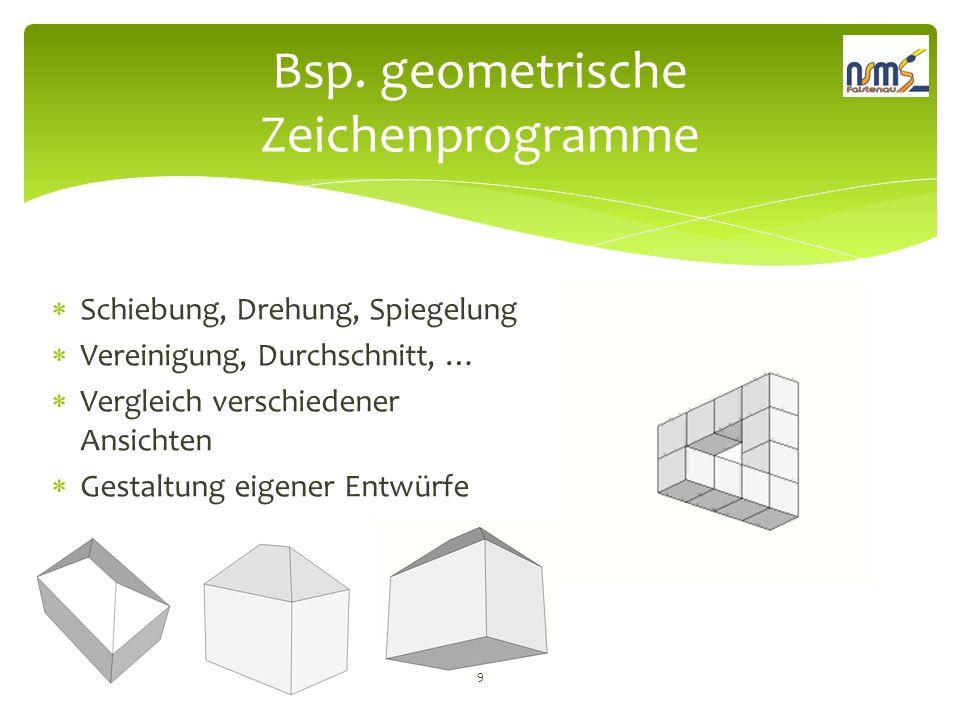 Bsp. geometrische Zeichenprogramme  Schiebung, Drehung, Spiegelung  Vereinigung, Durchschnitt, …  Vergleich verschiedener Ansichten  Gestaltung ei