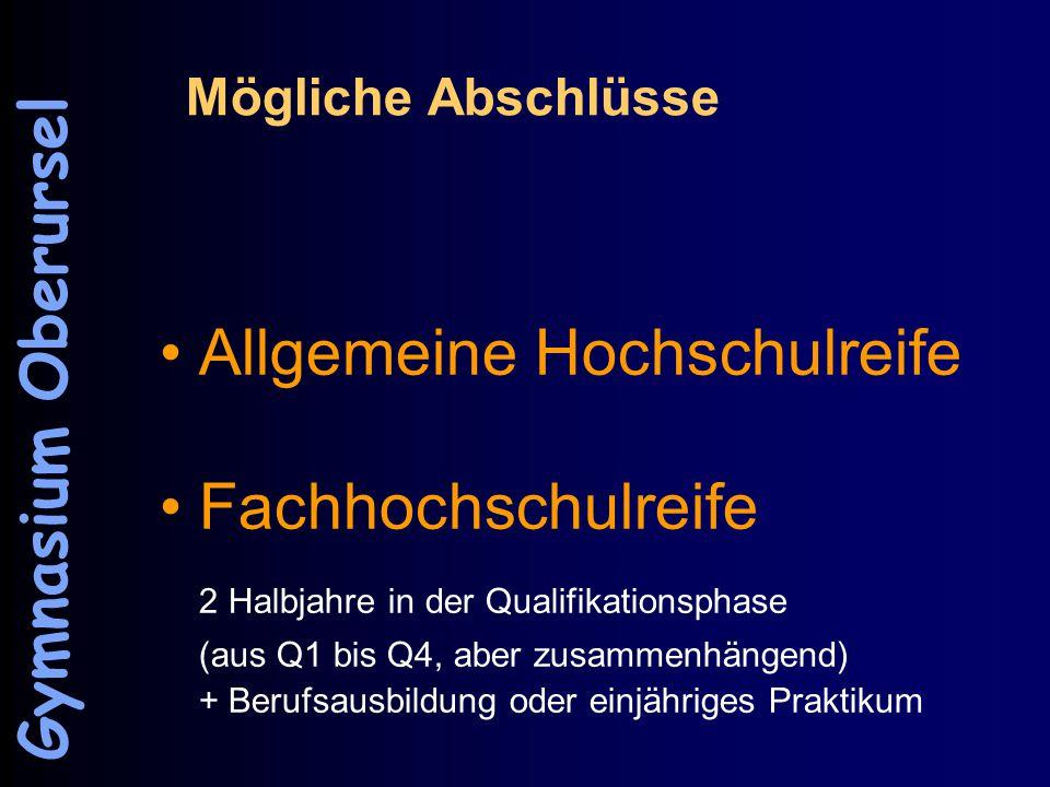 Mögliche Abschlüsse Allgemeine Hochschulreife Fachhochschulreife 2 Halbjahre in der Qualifikationsphase (aus Q1 bis Q4, aber zusammenhängend) + Berufsausbildung oder einjähriges Praktikum Gymnasium Oberursel