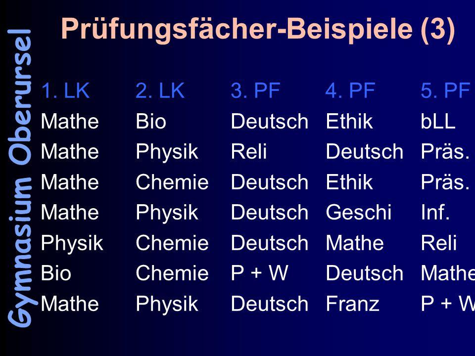 Prüfungsfächer-Beispiele (3) 1. LK2. LK3. PF4. PF5.