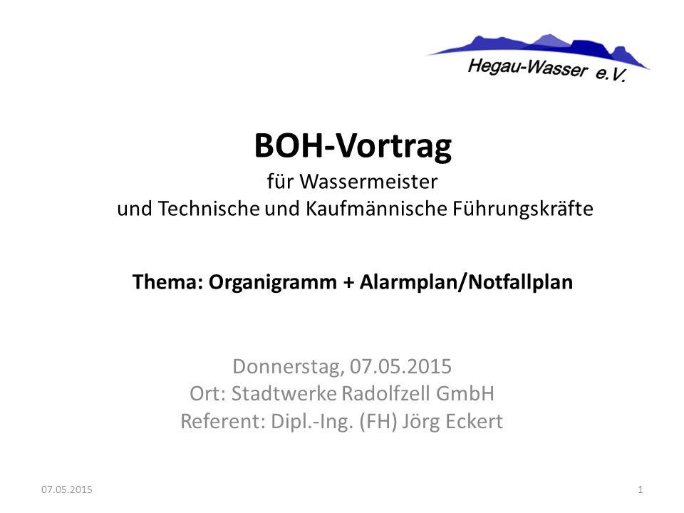 Donnerstag, 07.05.2015 Ort: Stadtwerke Radolfzell GmbH Referent: Dipl.-Ing. (FH) Jörg Eckert BOH-Vortrag für Wassermeister und Technische und Kaufmänn