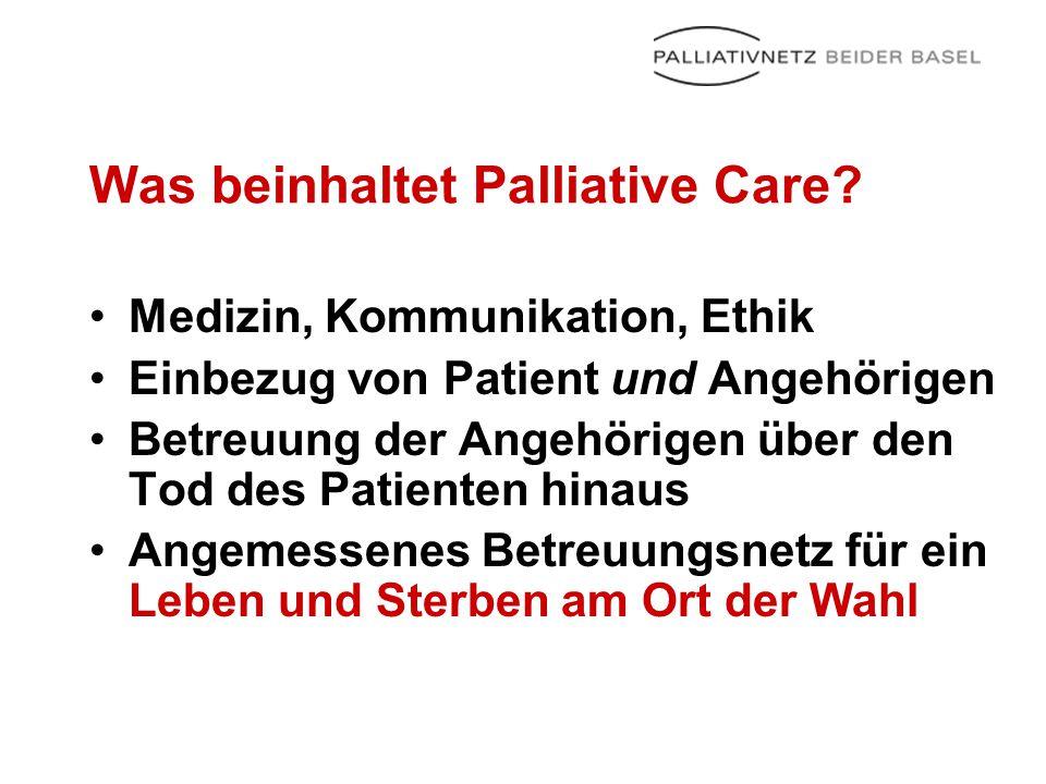 Was beinhaltet Palliative Care? Medizin, Kommunikation, Ethik Einbezug von Patient und Angehörigen Betreuung der Angehörigen über den Tod des Patiente