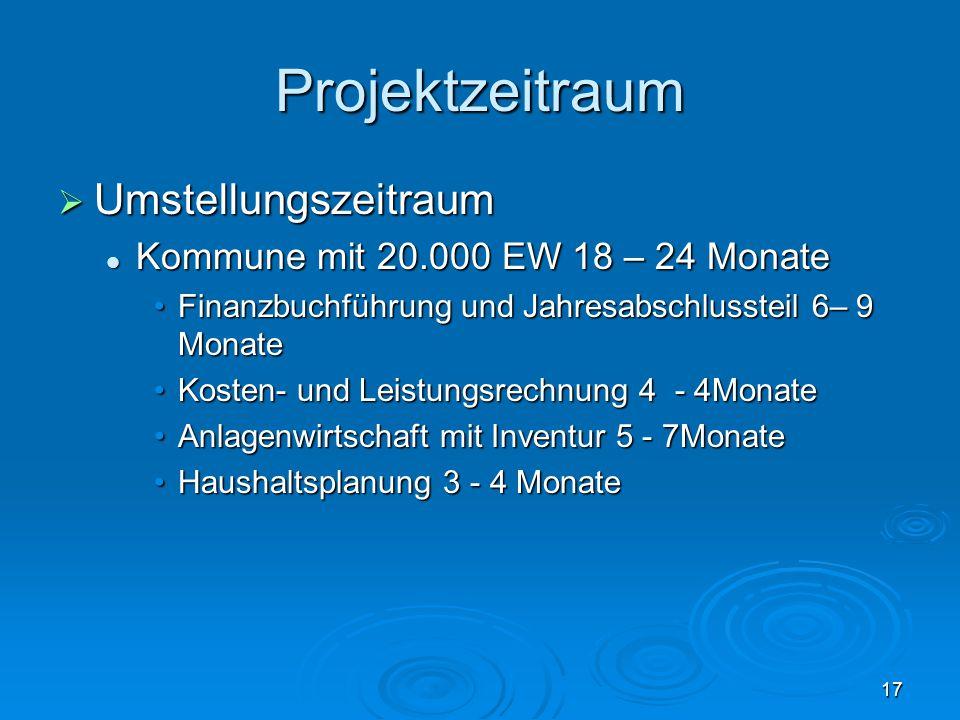 17 Projektzeitraum  Umstellungszeitraum Kommune mit 20.000 EW 18 – 24 Monate Kommune mit 20.000 EW 18 – 24 Monate Finanzbuchführung und Jahresabschlu