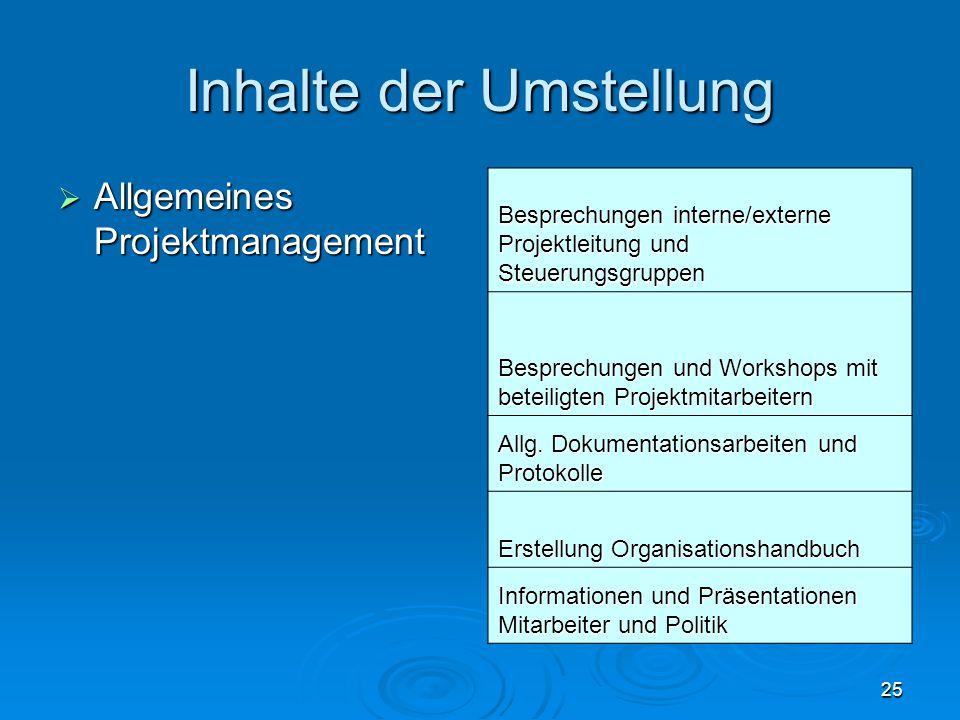 25 Inhalte der Umstellung  Allgemeines Projektmanagement Besprechungen interne/externe Projektleitung und Steuerungsgruppen Besprechungen und Worksho