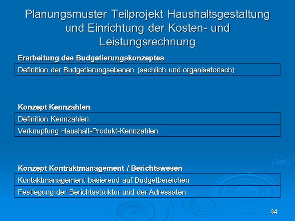 34 Planungsmuster Teilprojekt Haushaltsgestaltung und Einrichtung der Kosten- und Leistungsrechnung Erarbeitung des Budgetierungskonzeptes Definition